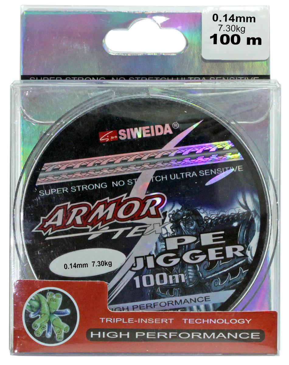 """Шнур плетеный SWD """"Armor"""", цвет: серый, длина 100 м, сечение 0,14 мм, нагрузка 7,3 кг"""
