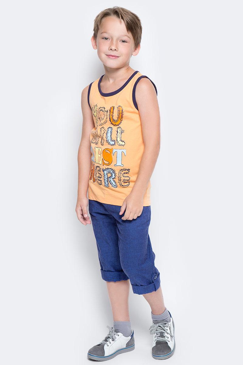 Майка для мальчика Sela, цвет: желто-оранжевый. Tsl-811/585-7214. Размер 128, 8 летTsl-811/585-7214Стильная майка для мальчика Sela выполнена из натурального хлопка и оформлена ярким принтом. Модель прямого кроя подойдет для занятий спортом, прогулок и дружеских встреч и будет отлично сочетаться с джинсами и брюками. Круглый вырез горловины и проймы дополнены мягкой эластичной бейкой контрастного цвета. Мягкая ткань комфортна и приятна на ощупь.