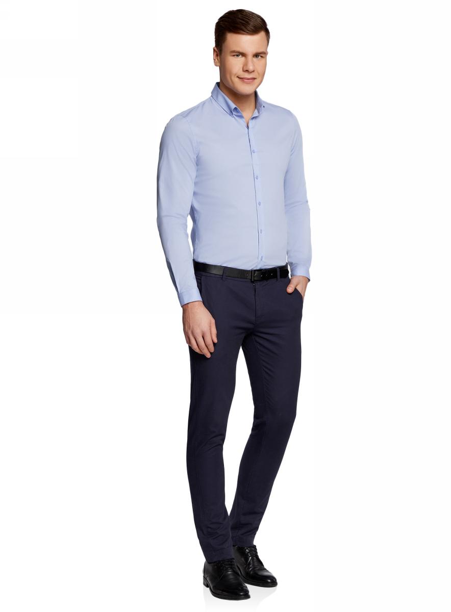 Рубашка мужская oodji Basic, цвет: голубой. 3B140002M/34146N/7000N. Размер 40-182 (48-182)3B140002M/34146N/7000NМужская базовая рубашка от oodji выполнена из натурального хлопка. Модель приталенного кроя с длинными рукавами застегивается на пуговицы.
