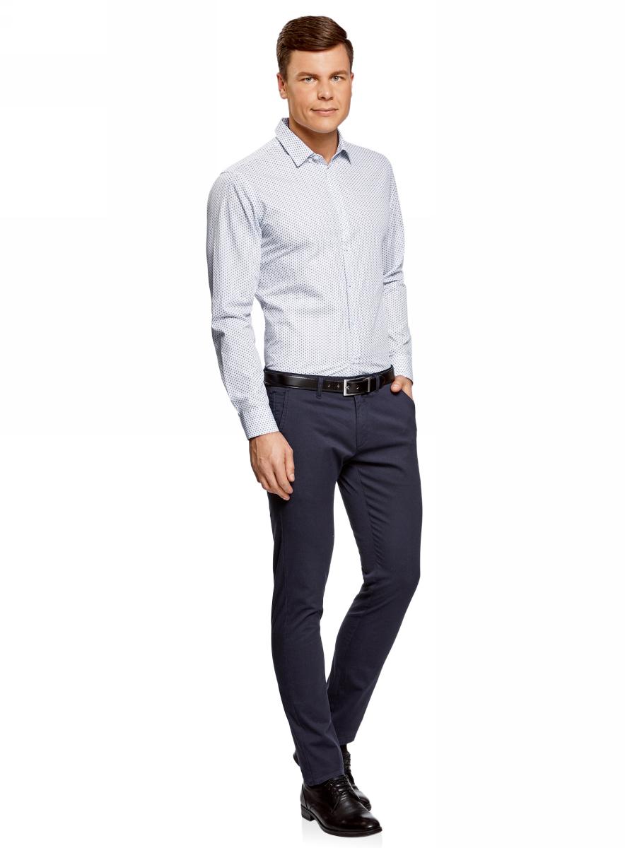Рубашка мужская oodji Basic, цвет: белый, темно-синий. 3B110019M/44425N/1079G. Размер 44 (56-182)3B110019M/44425N/1079GКлассическая мужская рубашка oodji с длинными рукавами изготовлена из натурального хлопка. Рубашка застегивается на пуговицы, манжеты рукавов дополнены застежками-пуговицами.