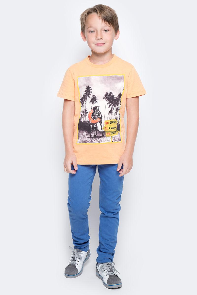Футболка для мальчика Sela, цвет: желто-оранжевый. Ts-811/581-7214. Размер 146, 11 летTs-811/581-7214Стильная футболка для мальчика Sela изготовлена из натурального хлопка и оформлена оригинальным принтом. Воротник дополнен мягкой трикотажной резинкой.Яркий цвет модели позволяет создавать модные образы.