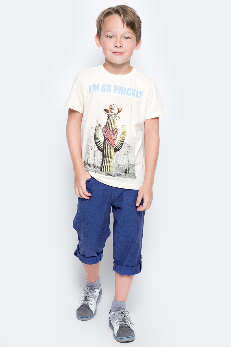 Футболка для мальчика Sela, цвет: серовато-янтарный. Ts-811/583-7214. Размер 152Ts-811/583-7214Модная футболка для мальчика Sela выполнена из натурального хлопка и оформлена оригинальным принтом. Модель прямого кроя подойдет для прогулок и дружеских встреч и будет отлично сочетаться с джинсами и брюками. Воротник изделия дополнен мягкой трикотажной резинкой.Мягкая ткань комфортна и приятна на ощупь. Яркий цвет модели позволяет создавать стильные образы.