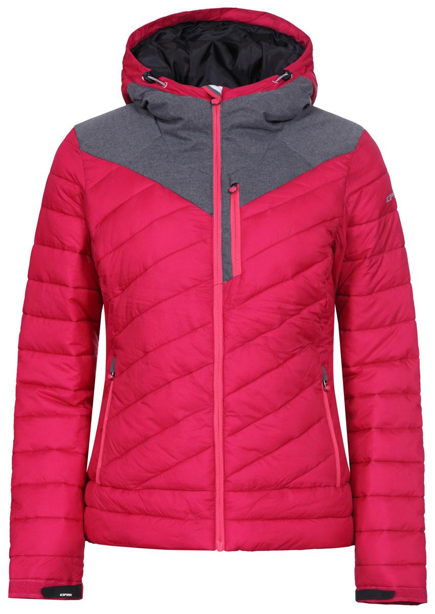 Куртка женская Icepeak, цвет: бозовый, серый. 853004650IV_668. Размер 38 (44)853004650IV_668Женская куртка Icepeak, выполненная из ткани rib-stop , комфортный теплый вариант для повседневной носки. Утеплитель Super Soft Touch, плотностью 300г. Структура утеплителя Super Soft Touch состоит из множества сверхтонких волокон, благодаря которым изделияне теряют своих термоизоляционных свойств, несмотря на кажущуюся невесомость. Модель приталенного силуэта с несъемным капюшоном спереди застегивается на молнию. Низ рукава можно отрегулировать по ширине с помощью хлястика. Три внешних и два внутренних кармана позволят надежно разместить необходимые мелочи.Куртка дополнена светоотражателями для безопасности в любых погодных условиях и в темное время суток.