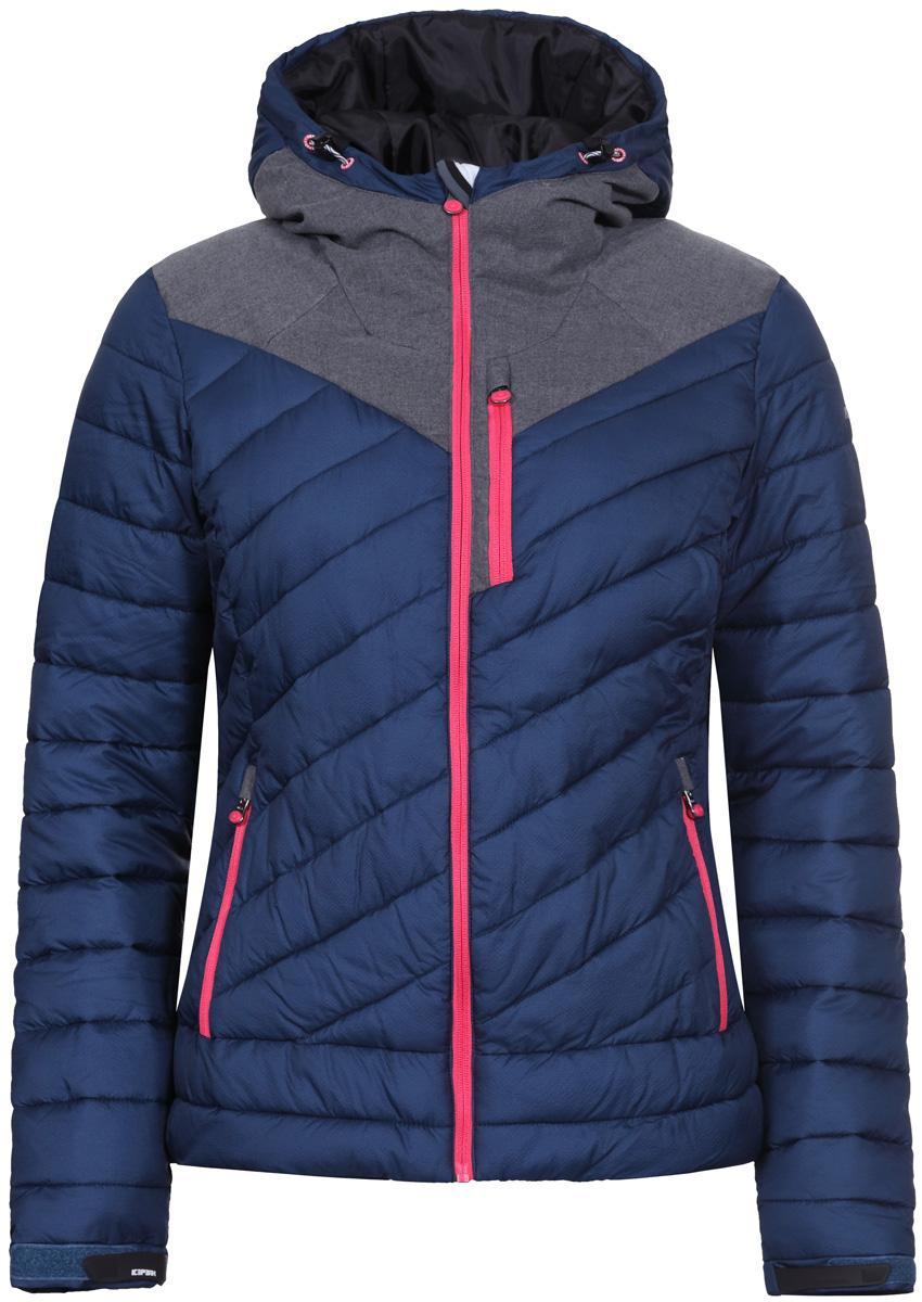 Куртка женская Icepeak, цвет: синий. 853004650IV_365. Размер 36 (42)853004650IV_365Женская куртка Icepeak, выполненная из ткани rib-stop , комфортный теплый вариант для повседневной носки. Утеплитель Super Soft Touch, плотностью 300г. Структура утеплителя Super Soft Touch состоит из множества сверхтонких волокон, благодаря которым изделияне теряют своих термоизоляционных свойств, несмотря на кажущуюся невесомость. Модель приталенного силуэта с несъемным капюшоном спереди застегивается на молнию. Низ рукава можно отрегулировать по ширине с помощью хлястика. Три внешних и два внутренних кармана позволят надежно разместить необходимые мелочи.Куртка дополнена светоотражателями для безопасности в любых погодных условиях и в темное время суток.