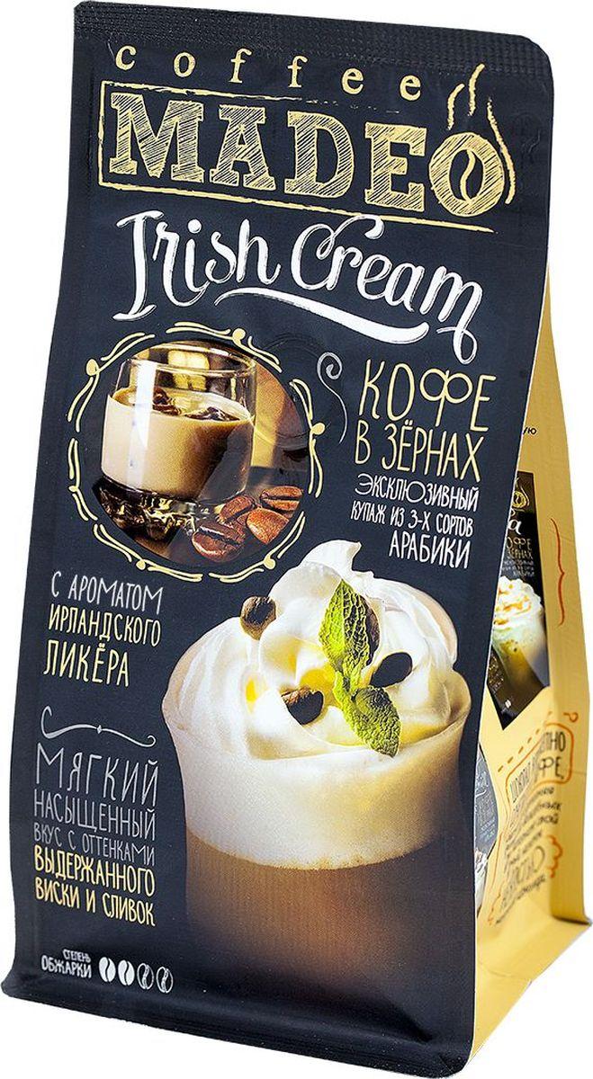 Madeo Irish Cream кофе в зернах, 200 г4607132507092Мягкий кофейный вкус с классическими оттенками выдержанного виски и сливок. Десертный сорт, изготовленный на купаже из 3-х сортов Арабики, в который мы добавляем кондитерский сироп. Составлен по технологии, разработанной специалистами Компании «Кофе Мадео»