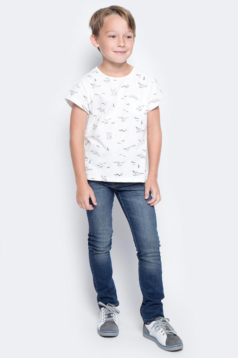 Футболка для мальчика Vitacci, цвет: белый. 1172082-01. Размер 1041172082-01Модная футболка для мальчика с круглым вырезом горловины и короткими рукавами.