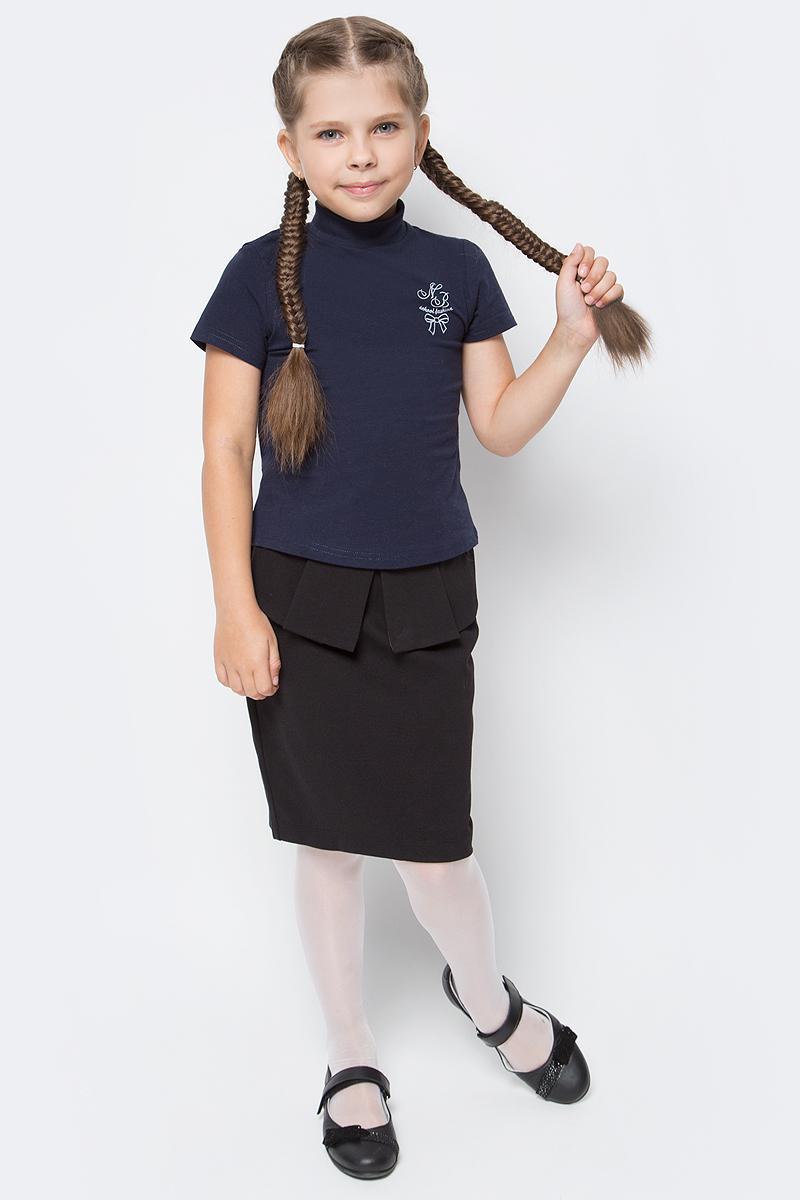 Водолазка для девочки Nota Bene, цвет: темно-синий. CJR27040A29. Размер 122CJR27040A29/CJR27040B29Водолазка для девочки Nota Bene выполнена из хлопкового трикотажа. Модель с короткими рукавами и воротником-стойкой на груди оформлена принтом.