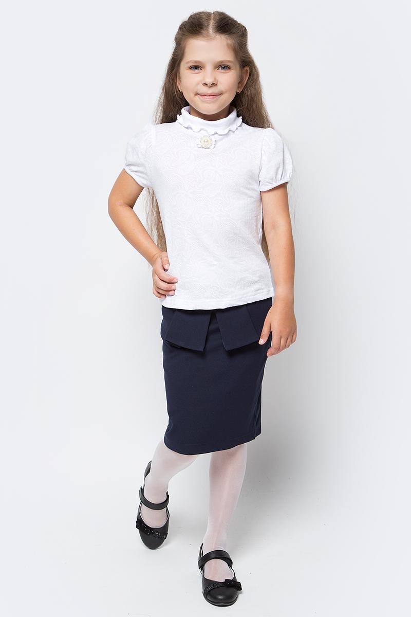 Блузка для девочки Nota Bene, цвет: белый. CJR27036A01. Размер 128CJR27036A01Блузка для девочки Nota Bene выполнена из хлопкового трикотажа. Модель с короткими рукавами-фонариками и воротником гольф.