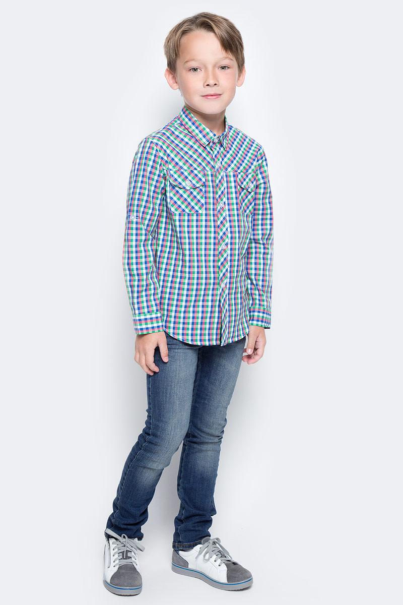 Рубашка для мальчика Vitacci, цвет: синий. 1172107-04. Размер 1281172107-04Модная клетчатая рубашка с длинным рукавом из высококачественного хлопка будет удачным выбором для мальчика-подростка. Отлично сочетается с джинсами и джинсовыми шортами.