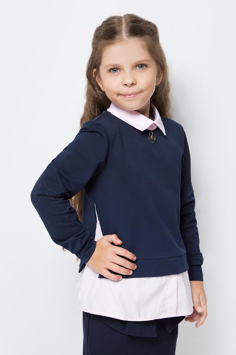 Джемпер для девочки Nota Bene, цвет: темно-синий, розовый. CJR27050_29. Размер 134