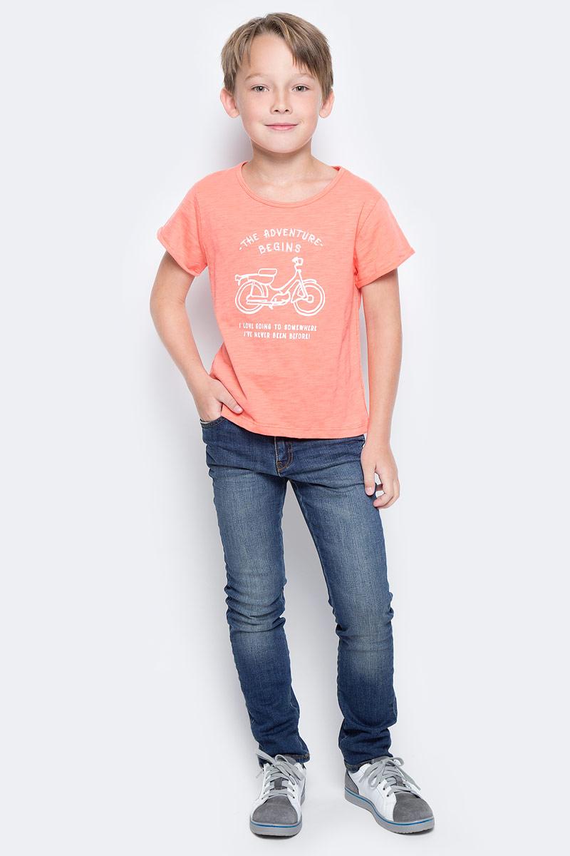 Футболка для мальчика Vitacci, цвет: оранжевый. 1172081-15. Размер 1041172081-15Яркая футболка для мальчика с оригинальным принтом будет удачным выбором в солнечный летний день.