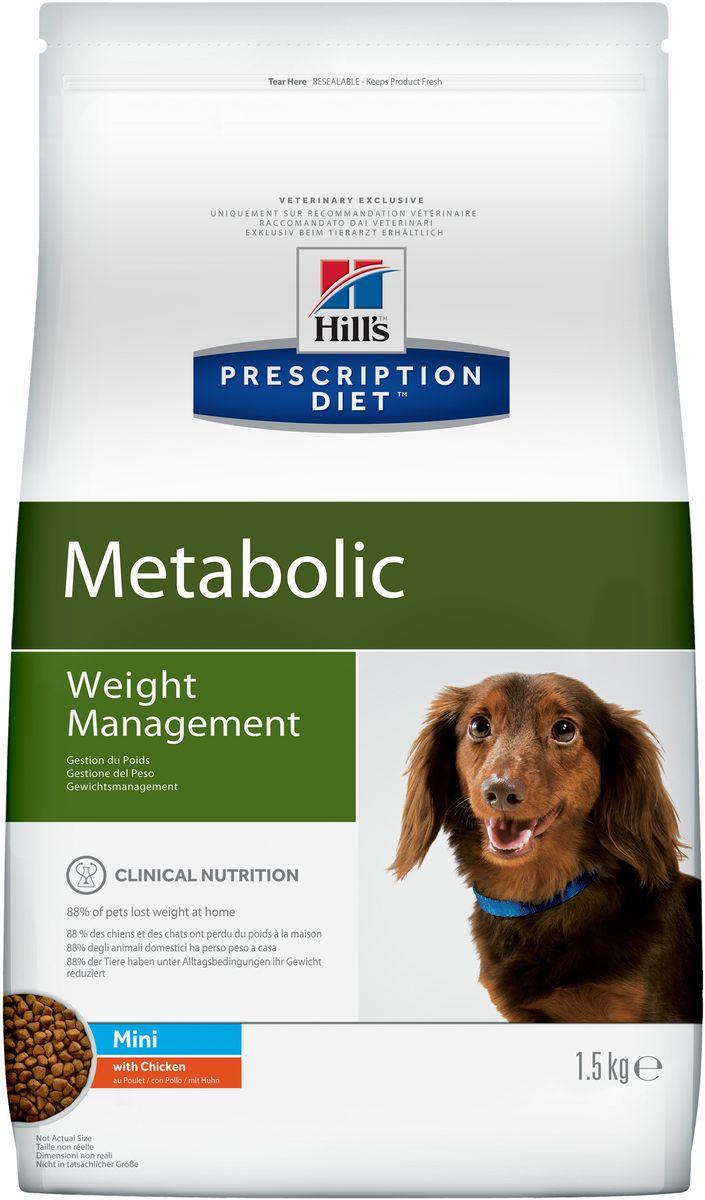 Корм сухой диетический Hills Metabolic для собак мелких пород, для коррекции веса, с курицей, 1,5 кг39111_новый дизайн/3353UСухой диетический корм Hills Metabolic - полноценный диетический рацион для собак мелких пород, предназначенный для снижения избыточной массы тела и поддержания оптимального веса. Данный рацион обладает пониженной энергетической ценностью. Рацион для снижения и поддержания веса позволяет избежать повторного набора веса после прохождения программы по снижению веса.- Клинически доказанное снижение жировой массы на 28%.- Отличный вкус понравится вашему питомцу.Состав: злаки, производные растительного происхождения, мясо и производные животного происхождения, экстракты растительного белка, овощи, масла и жиры, семена, фрукты, минералы.Анализ: белок 26%, жир 11,3%, клетчатка 13,3%, зола 5,7%, кальций 0,84%, фосфор 0,62%, натрий 0,33%, калий 0,74%, магний 0,12%; на кг: витамин Е 657 мг, витамин С 122 мг, бета-каротин 2 мг.Добавки на кг: Е672 (витамин А) 27360 МЕ, Е671 (витамин D3) 1610 МЕ, Е1 (железо) 229 мг, Е2 (йод) 3,4 мг, Е4 (медь) 29 мг, Е5 (марганец) 114 мг, Е6 (цинк) 194 мг, Е8 (селен) 0,5 мг, с натуральным консервантом и натуральными антиоксидантами.Метаболическая энергия (рассчитываемая): 13 МДж на кг.Товар сертифицирован.