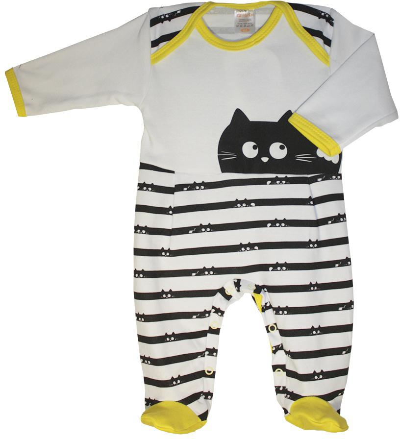 Комбинезон домашний детский КотМарКот Cats&mouse, цвет: черный, белый. 6129. Размер 626129Удобный домашний комбинезон с закрытыми ножками КотМарКот, изготовленный из интерлока, оформлен принтом в полоску и изображением кошки. Материал изделия мягкий и тактильно приятный, не раздражает нежную кожу ребенка и хорошо пропускает воздух. Модель с длинными рукавами и круглым вырезом горловины застегивается на ластовице на кнопки, что облегчает переодевание ребенка и смену подгузника. Изделие полностью соответствует особенностям жизни ребенка в ранний период, не стесняя и не ограничивая его в движениях.