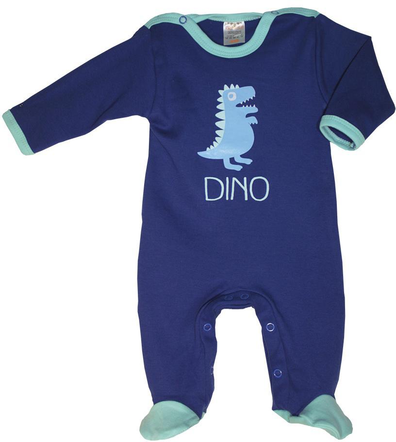 Комбинезон домашний детский КотМарКот Маленький Динозаврик, цвет: темно-синий, бирюзовый. 6135. Размер 746135Удобный домашний комбинезон с закрытыми ножками КотМарКот, изготовленный из интерлока, оформлен принтом с изображением динозаврика. Материал изделия мягкий и тактильно приятный, не раздражает нежную кожу ребенка и хорошо пропускает воздух. Модель с длинными рукавами и круглым вырезом горловины застегивается на ластовице и плечах на кнопки, что облегчает переодевание ребенка и смену подгузника. Изделие полностью соответствует особенностям жизни ребенка в ранний период, не стесняя и не ограничивая его в движениях.