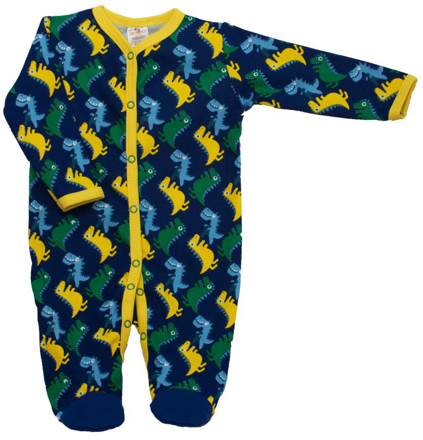 Комбинезон домашний детский КотМарКот Маленький Динозаврик, цвет: темно-синий, желтый. 6236. Размер 746236Удобный домашний комбинезон с закрытыми ножками КотМарКот, изготовленный из интерлока, оформлен принтом с изображением динозавриков. Материал изделия мягкий и тактильно приятный, не раздражает нежную кожу ребенка и хорошо пропускает воздух. Модель с длинными рукавами и круглым вырезом горловины застегивается спереди на кнопки по всей длине и на ластовице, что облегчает переодевание ребенка и смену подгузника. Изделие полностью соответствует особенностям жизни ребенка в ранний период, не стесняя и не ограничивая его в движениях.