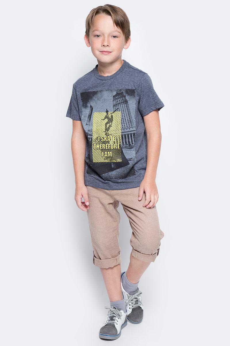 Футболка для мальчика Sela, цвет: темно-серый меланж. Ts-811/596-7223. Размер 134, 9 лет футболка для девочки sela цвет лиловый tsl 611 984 7223 размер 152 12 лет