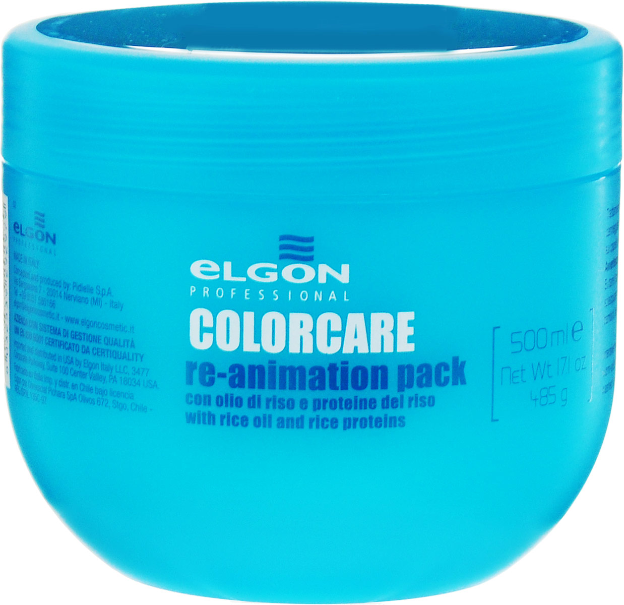 Elgon Color Care Маска востанавливающая для окрашенных и осветленных волос Re-Animation Pack, 500 мл1007020500Маска-кондиционер Elgon Re-Animation Pac предназначено для химически обработанных (окрашенных, осветленных и поврежденных) волос. Рисовые протеины и масло надстраивают структуру поврежденных волос, питают и увлажняют волосы, устраняя эффекты сухости и пористости. Маска придает волосам блеск, увеличивает стойкость цвета, облегчает расчесывание. Делает волосы эластичными, упругими. Защищает от механического повреждения, препятствует появлению секущихся кончиков. Товар сертифицирован.