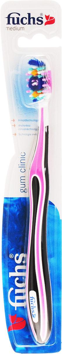 Fuchs Зубная щетка с массажем десен, цвет: черный, розовый263921018_черный, розовыйЗубная щетка Fuchs Gum Clinic чистит не только зубы, но и десны. Мягкие массажные щетинки удаляют налет с десен и бережно массируют их, а также имеют отбеливающий эффект. Наклонные щетинки на кончике щетки обеспечивают превосходное очищение даже труднодоступных мест.Товар сертифицирован.
