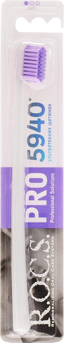 R.O.C.S Зубная щетка PRO 5940, мягкая, цвет: сиреневый32700461_сиреневыйЗубная щетка R.O.C.S. PRO 5940 разработана для взрослых.Уникальная зубная щетка R.O.C.S. PRO 5940 обладает следующими преимуществами:количество щетинок увеличено в 2 раза, что в сочетании с использованием ультратонкой щетины особой формы Trilabal существенно повышает эффективность чистки зубов и способствует деликатному массажу десен;уникальная технология тройной полировки кончиков щетины обеспечивает безопастность чистки и исключает возможность повреждения твердых тканей зубов и десен;специально разработанная тонкая изогнутая ручка создает удобство во время чистки зубов и предотвращает излишнее давление на десны;гигиеничная и легко моется.Товар сертифицирован.