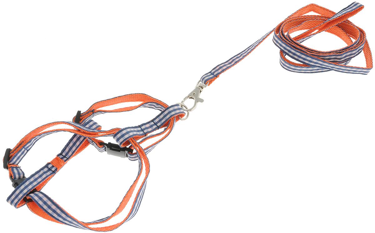 Комплект для кошек GLG Шотландка, цвет: белый, синий, оранжевый, 2 предметаOH12/D_белый, синий, оранжевыйКомплект для кошек и хорьков GLG Шотландка включает в себя два предмета: шлейку и поводок, выполненные из нейлона.Шлейка - это альтернатива ошейнику. Правильно подобранная шлейка не стесняет движения питомца, не натирает кожу, поэтому животное чувствует себя в ней уверенно и комфортно. Поводок - необходимый аксессуар для собаки. Ведь в опасных ситуациях именно он способен спасти жизнь вашему любимому питомцу.Максимальны обхват шеи: 32 см.Максимальный обхват груди: 54 см.Длина поводка: 1200 см.