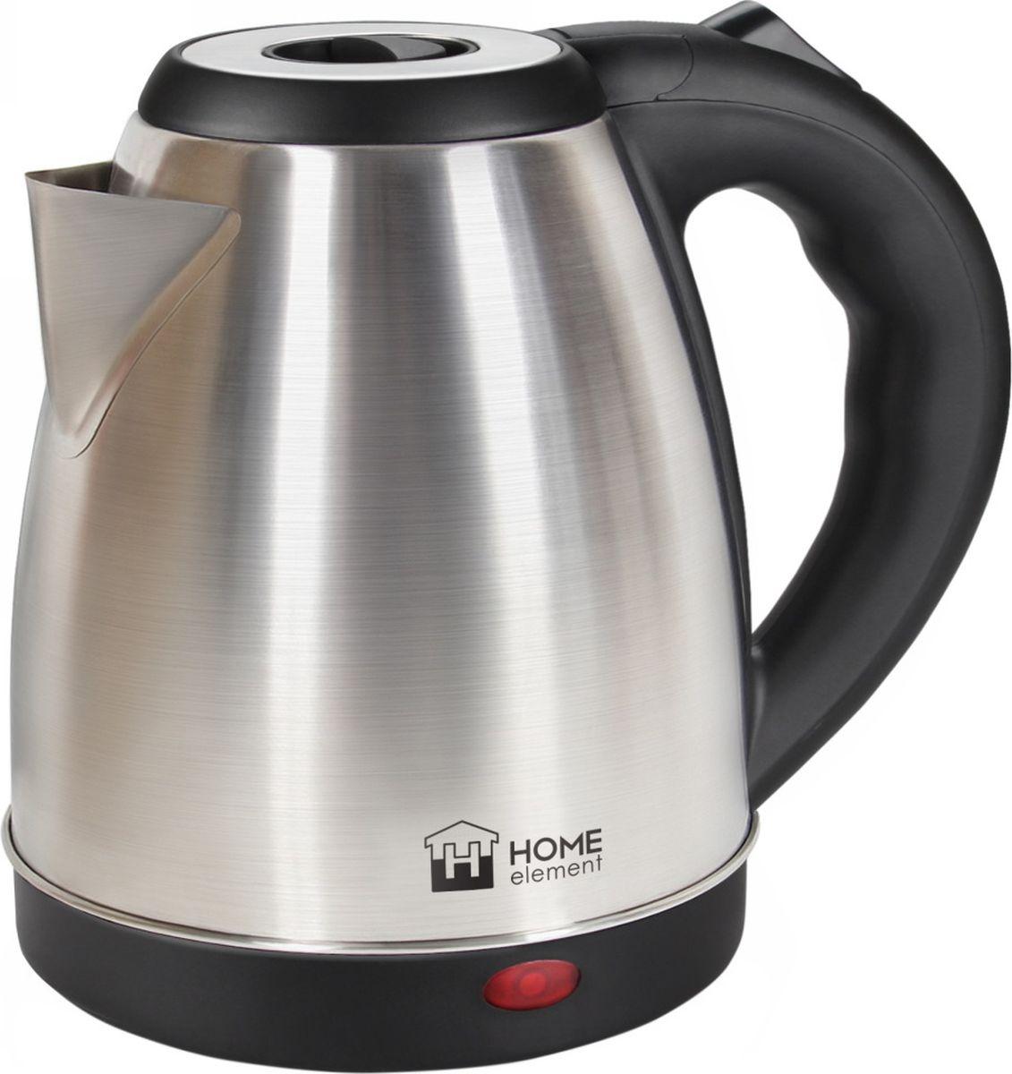 Home Element HE-KT176, Black Steel чайник электрическийHE-KT1761800W 1,7л сталь автоотключение при закипании/отсутствии воды световой индикатор работы