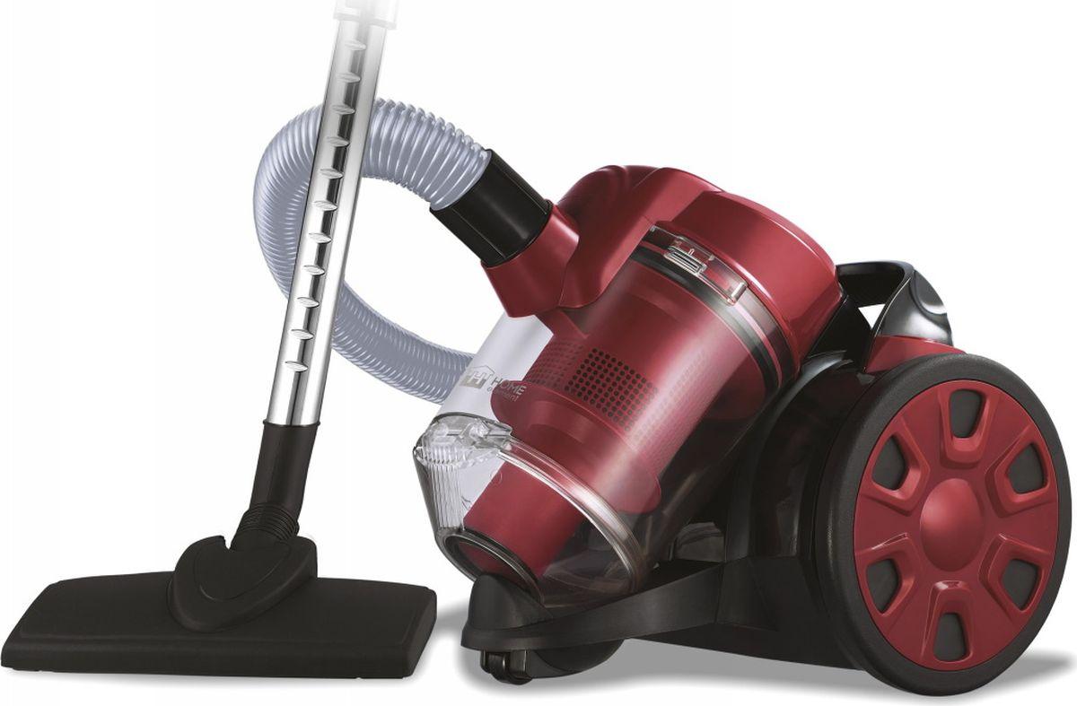 Home Element HE-VC1802, Black Burgundy пылесосHE-VC1802 черн/бургКомпактный пылесос Home Element HE-VC1802 без мешка для сбора пыли оснащен высокоэффективной системой фильтрации Мультициклон, которая обеспечивает исключительную очистку воздуха без потери мощности всасывания. Удобный 2-литровый пластиковый контейнер вместо мешка для сбора пыли экономит время и средства при эксплуатации пылесоса, делая его очень простым в обслуживании. Возможность включения и выключения ногой, большая ручка для переноски, система автосматывания шнура длиной 3,2 м и защита шланга от перегиба обеспечивают легкость и удобство в работе.Металлическая телескопическая труба настраиваемой длины и комплект насадок для деликатной чистки и мягкой мебели, пола и ковров позволят без особого труда полностью очистить любое помещение от пыли и мелкого мусора.