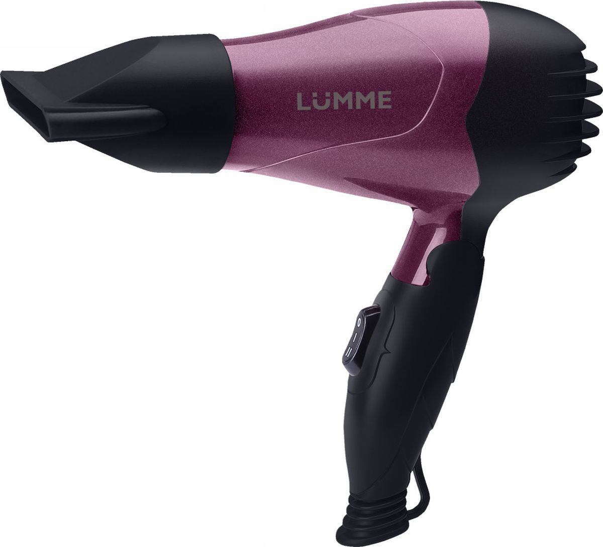 Lumme LU-1045, Purple Charoite фенLU-1045 чароит1200W 2 режима работы, концентратор, складная ручка, покрытие SOFT TOUCH, автоотключение при перегреве, петелька для подвешивания