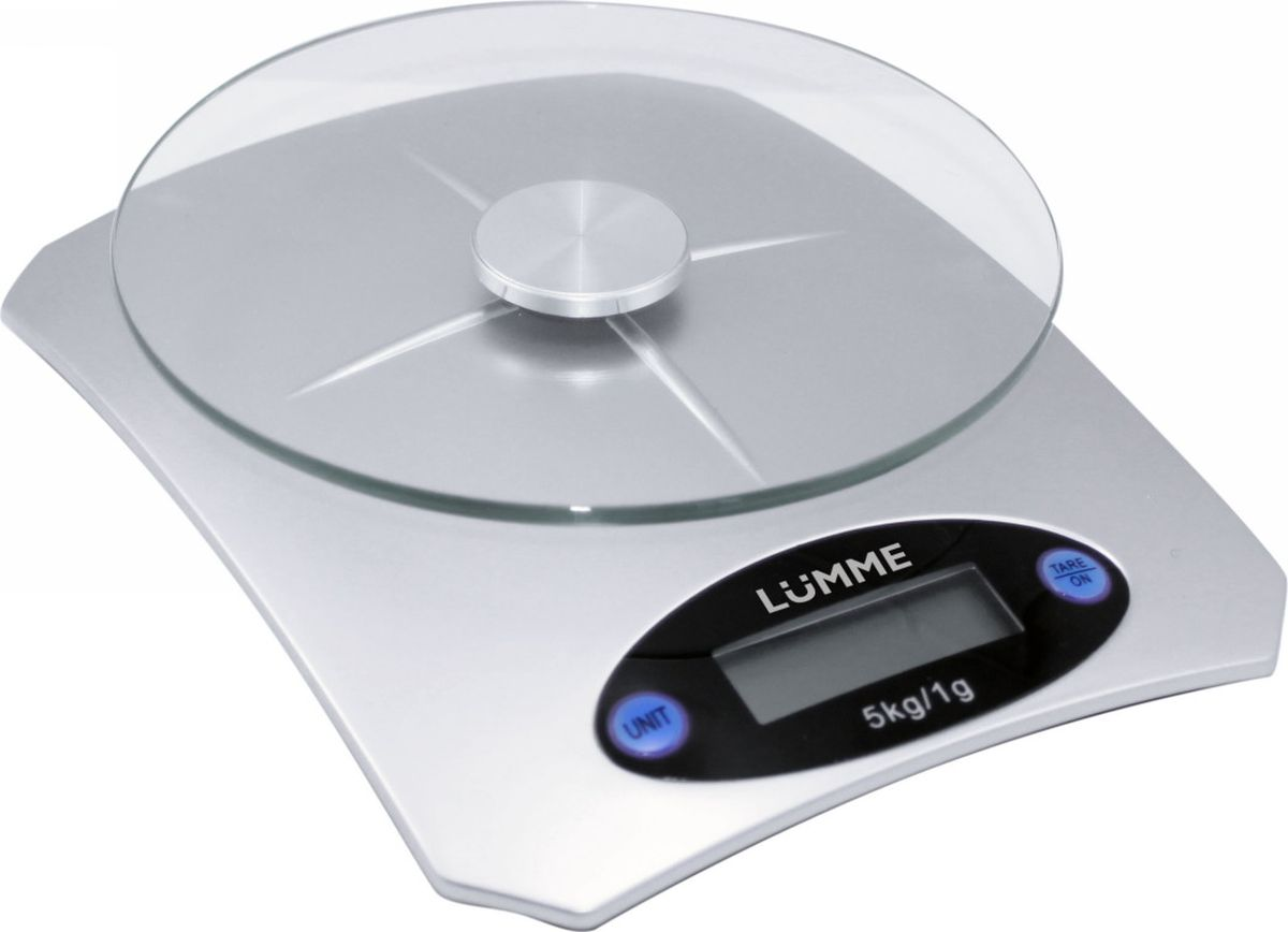 Lumme LU-1319, Silver весы кухонныеLU-1319Электронные кухонные весы Lumme LU-1319 с платформой из закаленного стекла для взвешивания продуктов с максимальной нагрузкой 5 кг и ценой деления 1 г. Работают от 1 батарейки CR2032, имеют большой жидкокристаллический дисплей и функцию тара для быстрого получения веса нетто.