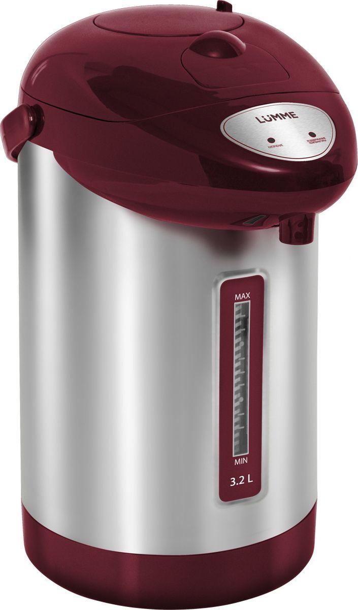 Lumme LU-296, Red Garnet термопотLU-296 гранат3,2-литровый термопот Lumme LU-296 с ручным насосом для безопасной подачи кипятка.Два режима работы – автокипячение и поддержание температуры позволяют использовать термопот с наименьшими энергозатратами, при этом теплая вода или кипяток остаются всегда под рукой.Благодаря корпусу из высококачественной пищевой нержавеющей стали и закрытому нагревательному элементу термопот обладает значительной прочностью и экологически чист - нержавеющая сталь не имеет запаха и сохраняет природные натуральные свойства воды.Шкала уровня воды на корпусе позволяет легко определить необходимость наполнения термопота водой, а LED-индикаторы режимов работы – проконтролировать его состояние.Термопот оснащен такими функциями безопасности как автоматическое отключение при закипании и отключение при недостаточном количестве воды.Плоское дно термопота с закрытым нагревательным элементом очень функционально – легко моется, противостоит накипи, не ржавеет, не подвержено коррозии, а значит, обеспечивает термопоту максимально долгий срок службы.
