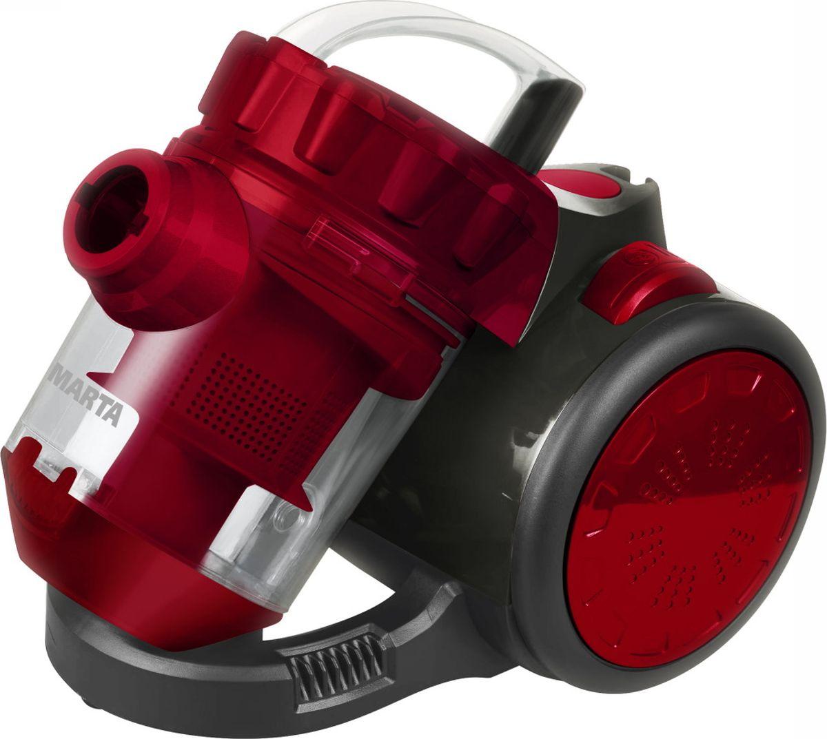 Marta MT-1351, Dark Garnet пылесосMT-1351 гранатМощный и компактный пылесос Marta MT-1351 разработан специально для деликатной и качественной уборки внутренних помещений. Надежный двигатель и высокоэффективная циклонная технология обеспечивают постоянную мощность всасывания на различных поверхностях, включая ковры. Легкость очистки контейнера для пыли значительно экономит время. Многослойный HEPA-фильтр улавливает мельчайшие частицы пыли и аллергены, оставляя только чистый и свежий воздух в вашем доме, что особенно важно для семей с маленькими детьми и людей с аллергическими заболеваниями.