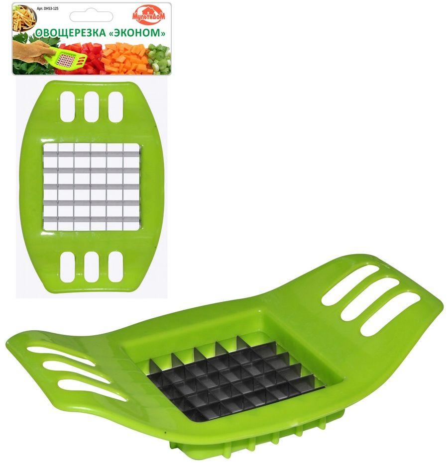 Фрукто-овощерезка Мультидом Эконом, цвет: зеленый, 17 x 10 x 3,5 смDH53-125Фрукто-овощерезка Мультидом Эконом предназначена для быстрой и удобной нарезки сырых и вареных овощей. При использовании этой овощерезки овощи получаются правильной геометрической формы и в салате или других блюдах будут выглядеть аккуратно.
