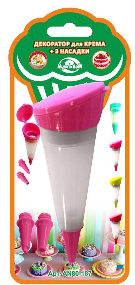 Шприц кондитерский Мультидом, цвет: розовый, 50 млAN80-187Декоратор Мультидом предназначен для приготовления и декорирования выпечки, кондитерский изделий. Использование насадок различного размера позволит получить желаемую толщину выдавливаемого крема. После применения промыть с использованием жидких моющих средств. Не рекомендуется мыть с абразивными моющими средствами и металлическими губками. В процессе использования может исчезнуть яркость цвета, но это не влияет на качество изделия. Изготовлено из силикона, насадки из полипропилена. В комплект входит емкость для крема и 3 насадки.Объем 50 мл.
