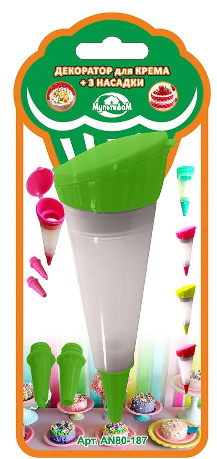 Шприц кондитерский Мультидом, цвет: зеленыйAN80-187Декоратор предназначен для приготовления и декорирования выпечки, кондитерский изделий.Использование насадок различного размера позволит получить желаемую толщину выдавливаемого крема.В комплект входит емкость для крема и 3 насадки.После применения промыть с использованием жидких моющих средств.Не рекомендуется мыть с абразивными моющими средствами и металлическими губками.В процессе использования может исчезнуть яркость цвета, но это не влияет на качество изделия.Изготовлено из силикона, насадки из пластмассы (полипропилен). Объем 50 мл.