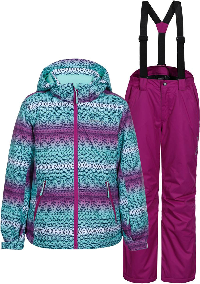 Комплект для девочки Icepeak: куртка, брюки, цвет: фиолетовый, бирюзовый. 852130521IV_740. Размер 140852130521IV_740Комплект для девочки Icepeak включает в себя куртку и брюки. Куртка с длинными рукавами и несъемным капюшоном выполнена из прочного полиэстера и имеет подкладку из полиэстера. Наполнитель - синтепон. Модель застегивается на застежку-молнию спереди, имеет два втачных кармана на молнии спереди. Манжеты рукавов дополнены хлястиками на липучках. Куртка оформлена ярким принтом. Брюки застегиваются на пуговицу в поясе и ширинку на застежке-молнии, имеются шлевки для ремня. Изделие дополнено спереди двумя врезными карманами на застежке - молнии. Брюки оснащены съемными эластичными подтяжками, длина подтяжек регулируется.