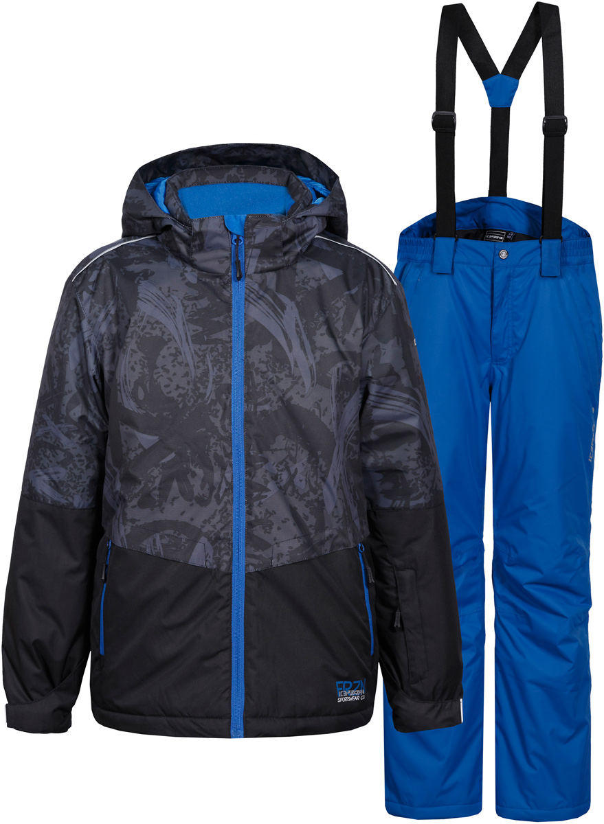 Комплект для мальчика Icepeak: куртка, брюки, цвет: серый, синий. 852131522IV_290. Размер 128852131522IV_290