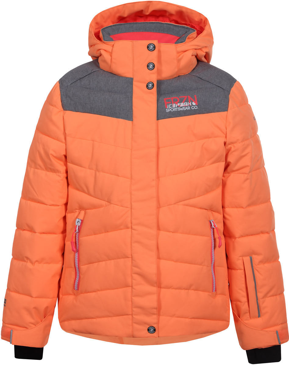 Куртка для девочки Icepeak, цвет: оранжевый. 850026553IV_443. Размер 128850026553IV_443Куртка для девочки Icepeak выполнена из полиэстера. Модель с капюшоном застегивается на молнию и кнопки.