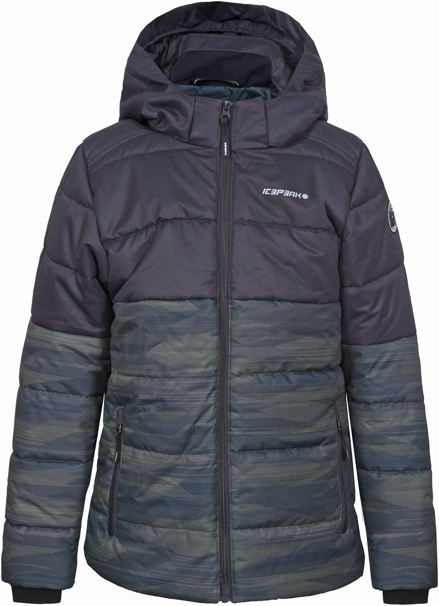 Куртка для мальчика Icepeak, цвет: оливковый. 850013672IV_585. Размер 128850013672IV_585Куртка для мальчика Icepeak выполнена из полиэстера. Модель с длинными рукавами и капюшоном застегивается на застежку-молнию.