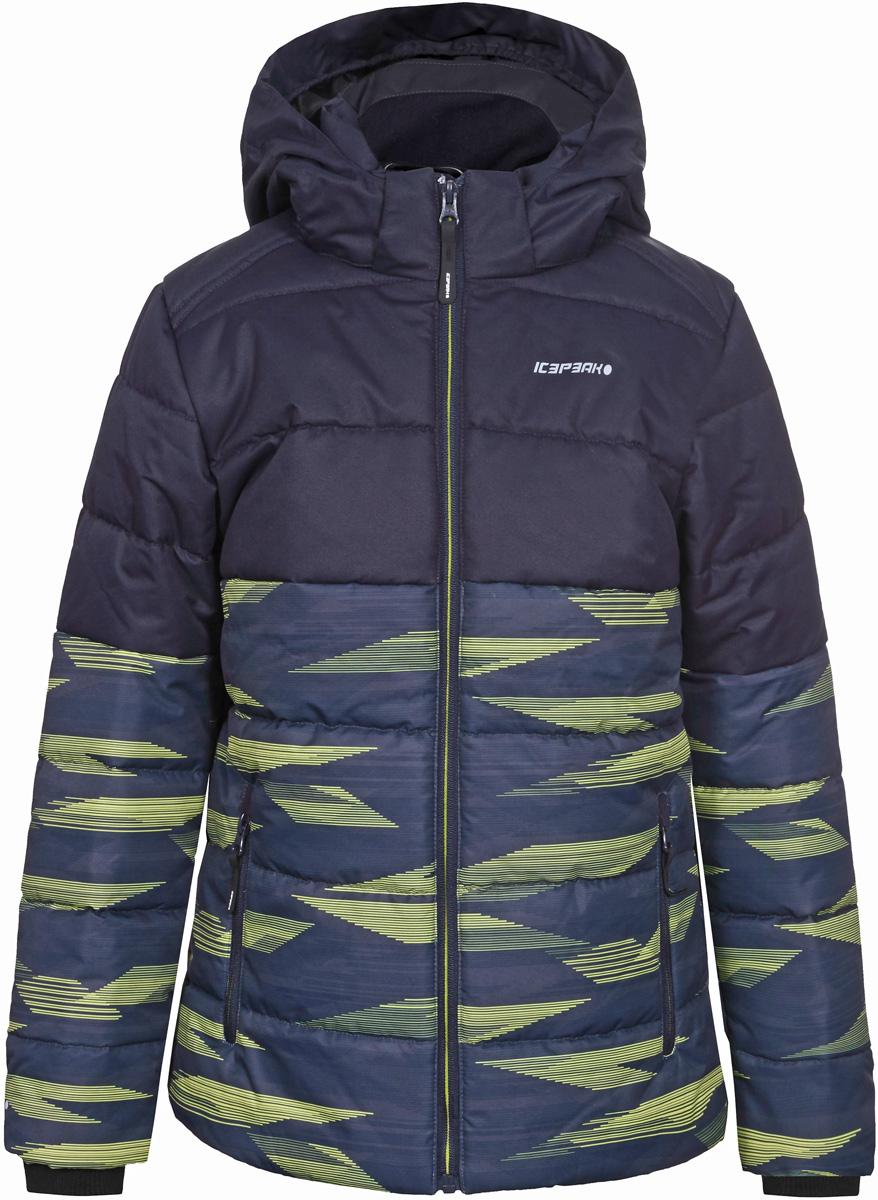Куртка для мальчика Icepeak, цвет: синий, желтый. 850013672IV_510. Размер 128850013672IV_510Куртка для мальчика Icepeak выполнена из полиэстера. Модель с длинными рукавами и капюшоном застегивается на застежку-молнию.