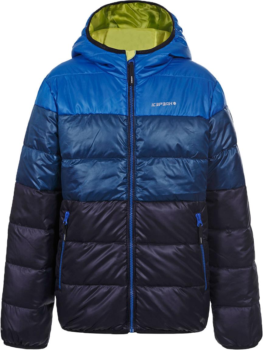 Куртка для мальчика Icepeak, цвет: синий. 850011507IV_347. Размер 140850011507IV_347Куртка для мальчика Icepeak выполнена из полиэстера. Модель с капюшоном застегивается на молнию.