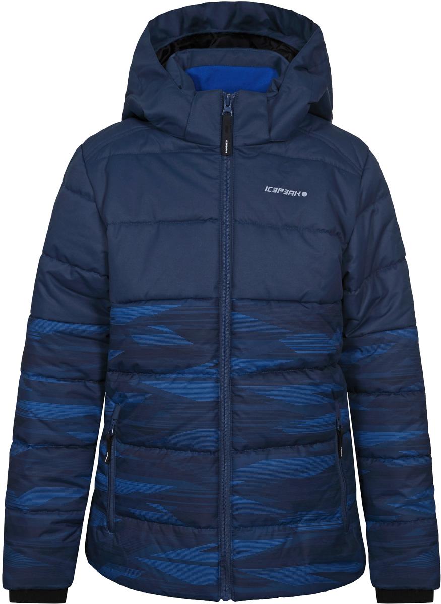Куртка для мальчика Icepeak, цвет: синий. 850013672IV_365. Размер 140850013672IV_365Куртка для мальчика Icepeak выполнена из полиэстера. Модель с длинными рукавами и капюшоном застегивается на застежку-молнию.