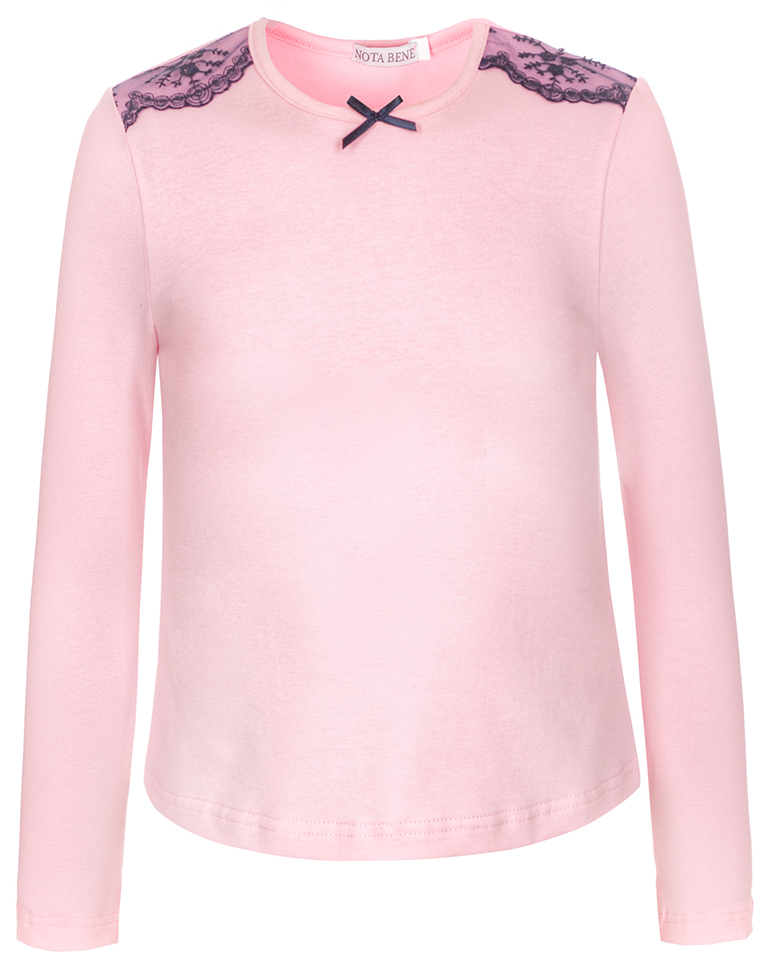 Блузка для девочки Nota Bene, цвет: розовый. CJR27031A05. Размер 128CJR27031A05/CJR27031B05Блузка для девочки Nota Bene выполнена из хлопкового трикотажа с кружевной отделкой. Модель с длинными рукавами и круглым вырезом горловины.