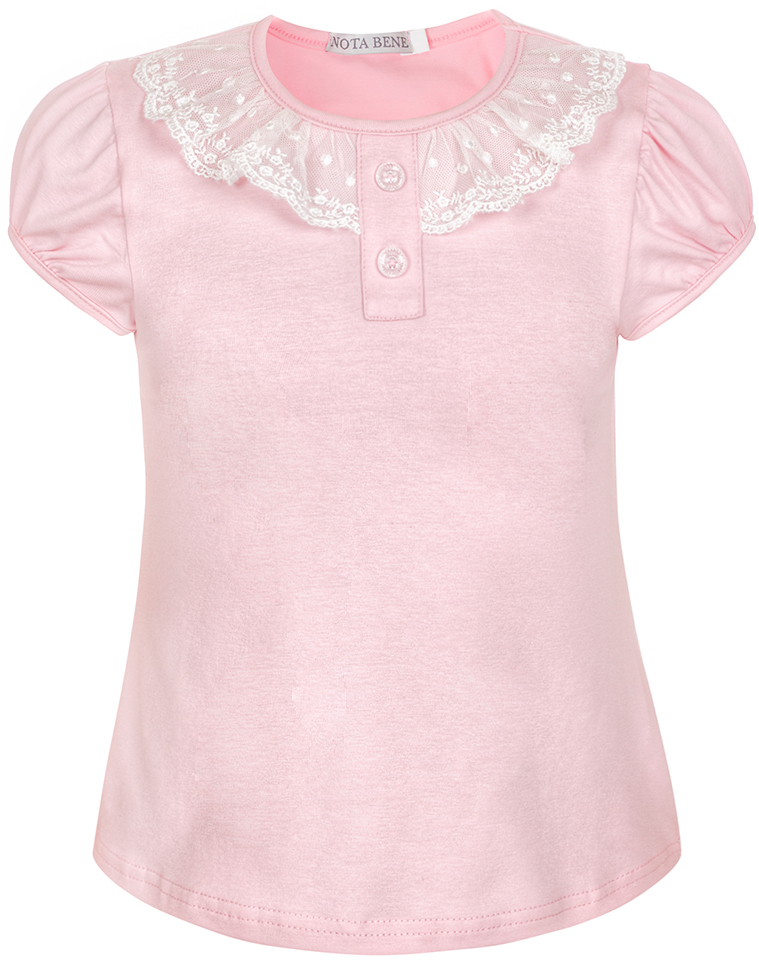 Блузка для девочки Nota Bene, цвет: розовый. CJR27032A05. Размер 134CJR27032A05Блузка для девочки Nota Bene выполнена из хлопкового трикотажа с кружевной отделкой. Модель с короткими рукавами и круглым вырезом горловины.