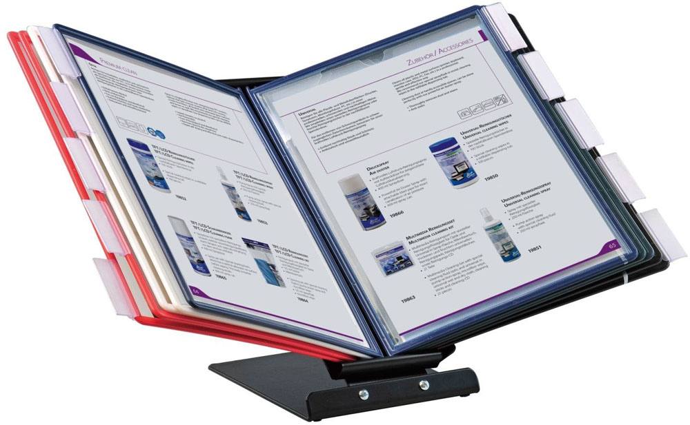 Office Force Stationery Настольная демосистема Qulck-Vlew Information Display А4 с поворотным механизмом01127Настольная демонстрационная система Qulck-Vlew Information Display удобная и эргономичная. Снабжена поворотным механизмом,позволяющим переворачивать демонстрационный материал, располагая его как вертикально, так и горизонтально.Проста в сборке,незаменима в использовании. Рассчитана на 10 демонстрационных панелей формата А4. Система обеспечивает упорядоченное хранениедокументов у вас на столе, выгодное представление рекламных листовок в местах продаж.