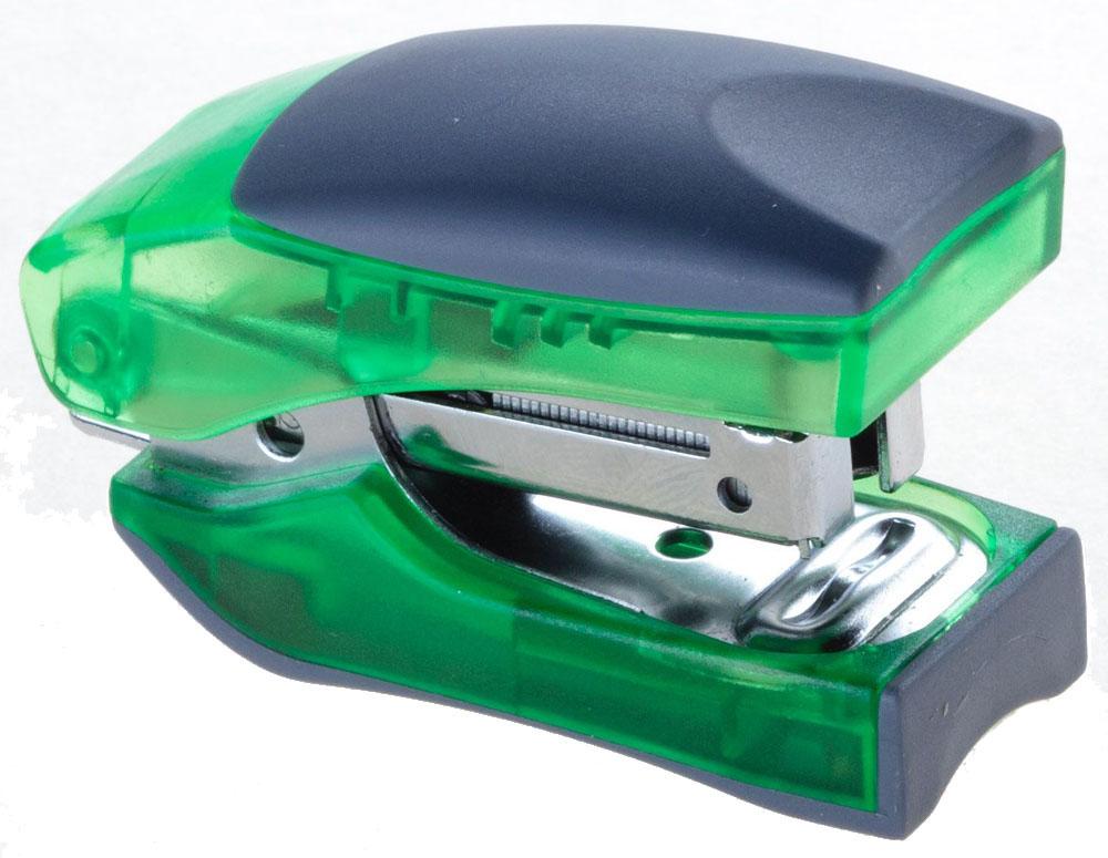 Office Force Stationery Степлер Stand Up Mini цвет зеленый прозрачный №1030012Степлер Office Force Stand Up Mini с эргономичным корпусом и и надежным механизмом.Глубина закладывания бумаги: до 26 мм. Толщина пробивания: до 10 листов бумаги плотностью 80 г/м. Тип и размер применяемых скоб: №10. Вместимость контейнера: до 50 скоб. Режим сшивания листов: закрытый.Материал: пластик, металл. Размер: 61 мм х 35 мм х 24 мм. Прорезиненный упор обеспечивает комфорт при работе. Наличие антистеплера. Компактные размеры позволяют экономить место на рабочем столе. Можно хранить вертикально и горизонтально.