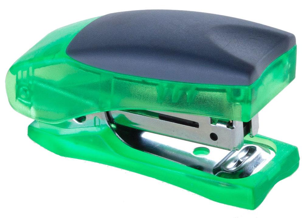 Office Force Stationery Степлер Stand up Mini, цвет зеленый прозрачный, до 12 листов30032Cтеплер Office Force Stand Up Mini с эргономичным корпусом и надежным механизмом. Цвет - зеленый, прозрачный. Прорезиненный упор обеспечивает комфорт при работе. Компактные размеры позволяют экономить место на рабочем столе. Пробивает до 12 листов бумаги плотностью 80 г/м?. Тип и размер применяемых скоб -24/6;26/6. Максимальная глубина закладки бумаги- 20 мм. Вместимость контейнера - до 50 скоб. Режим сшивания листов - закрытый. Материал - пластик, металл. Размер - 68х44х30 мм. Можно хранить вертикально и горизонтально. Наличие антистеплера. Антискользящее покрытие.