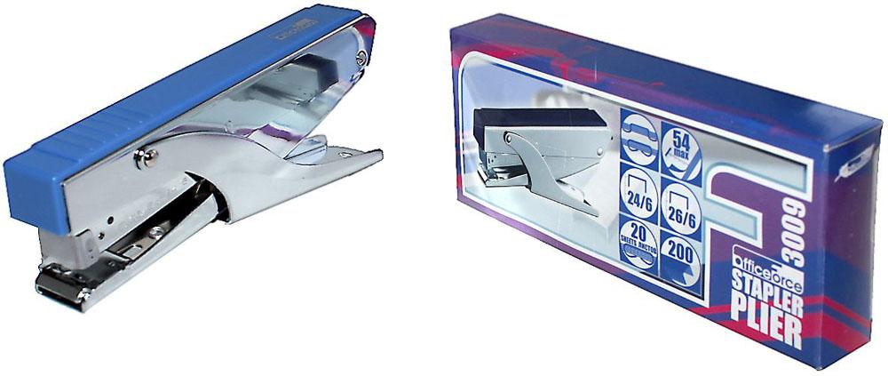 Office Force Stationery Степлер Plier Metal цвет синий №24/6 26/630091Невероятно удобный степлер-плаер Office Force Plier Metal с эргономичным корпусом и надежным механизмом.Глубина закладывания бумаги: до 54 мм. Толщина пробивания: до 20 листов бумаги плотностью 80 г/м. Тип и размер применяемых скоб: 24/6 26/6. Вместимость контейнера: до 200 скоб. Режим сшивания листов: закрытый/открытый.Материал: пластик, металл. Размер: 170 мм х 70 мм х 28 мм. Позволяет скреплять документы на весу. Незаменим при работе на складах и прочих местах, где часто приходится скреплять документы на ходу.
