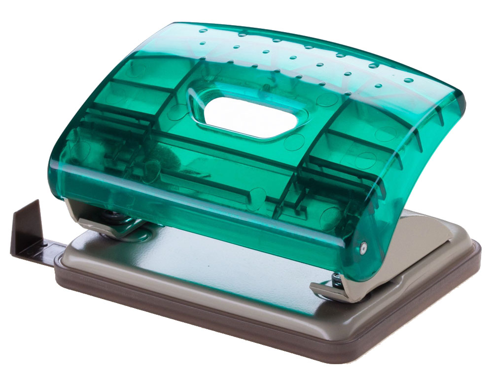 Office Force Stationery Дырокол Transparent, цвет зеленый, 16 листов, 2 отверстия35122Дырокол Office Force серии Transparent. Прозрачный корпус выполнен из прочного пластика с металлической основой. Оснащен форматной линейкой A4, A5, A6, 888. Толщина пробивания - до 16 листов, 80г/м2. Пробивает 2 отверстия, диаметром 6 мм. Расстояние между отверстиями 80 мм. Наличие специальных фиксаторов обеспечивает возможность хранения дырокола в сложенном виде. Нескользящая прорезиненная подошва, контейнер для сбора конфетти. Цвет: зеленый. Размер - 113х82х48 мм.