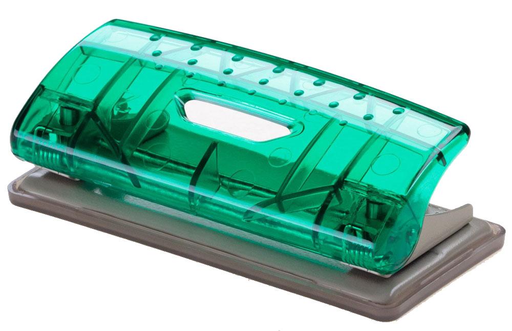Office Force Stationery Дырокол Mini Transparent, цвет зеленый, металлическая основа, 6 листов, 2 отверстия35123Дырокол Office Force серии Transparent Mini. Прозрачный корпус выполнен из прочного пластика с металлической основой. Толщина пробивания - до 6 листов, 80г/м2. Пробивает 2 отверстия, диаметром 6 мм. Расстояние между отверстиями 80 мм. Нескользящая прорезиненная подошва, контейнер для сбора конфетти. Цвет: зеленый. Размер - 101х46х34 мм.