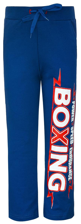 Брюки спортивные для мальчика M&D, цвет: синий. Б190809. Размер 104Б190809Спортивные брюки для мальчика выполнены из трикотажного полотна. Модель с широкой резинкой на талии и со шнурком дополнена втачными карманами.