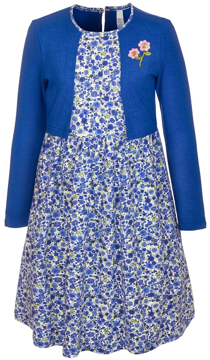 Платье для девочки M&D, цвет: васильковый. WJD27019M81. Размер 116 лосины для девочки m&d цвет мультиколор swj27016s77 размер 152